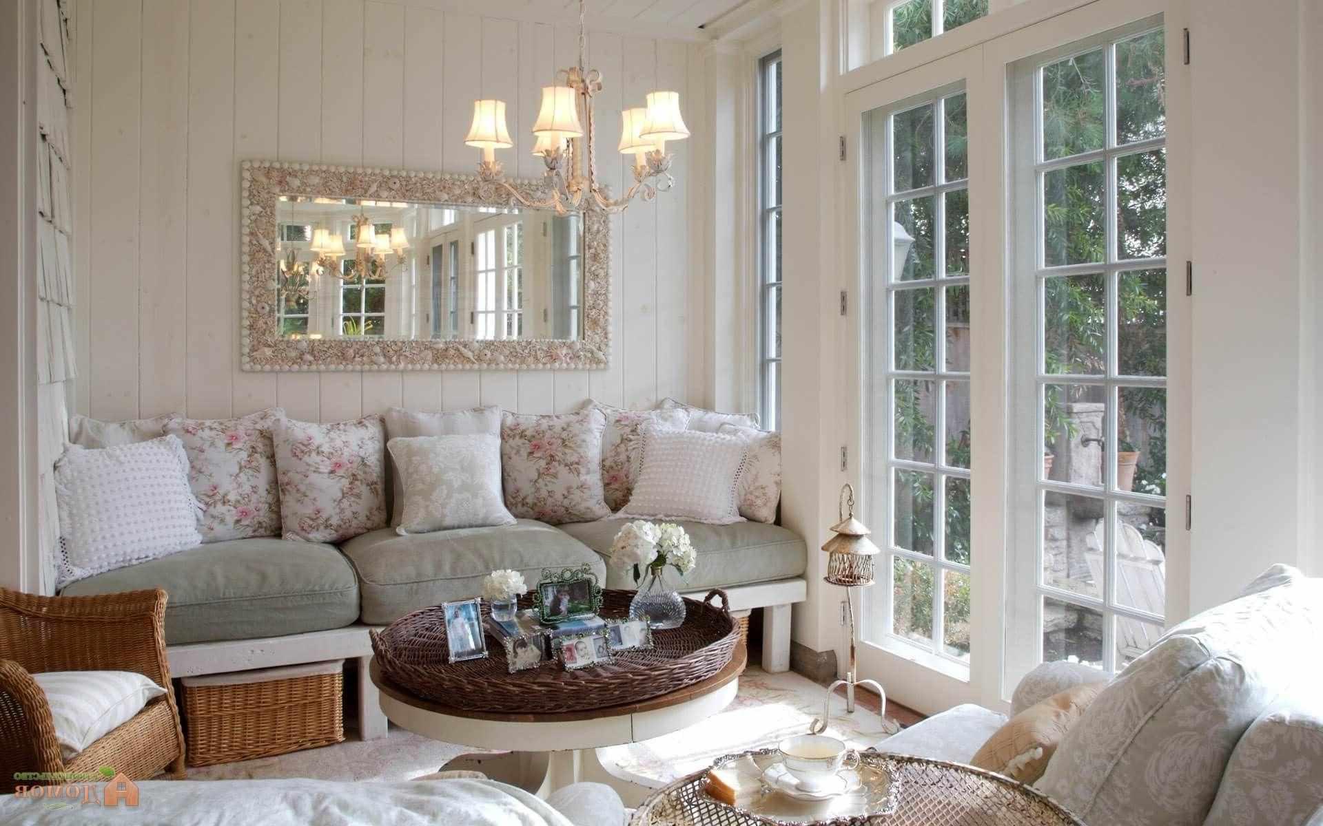 пример светлого дизайна прованс в гостиной