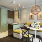 пример необычного дизайна кухни гостиной 16 кв.м фото