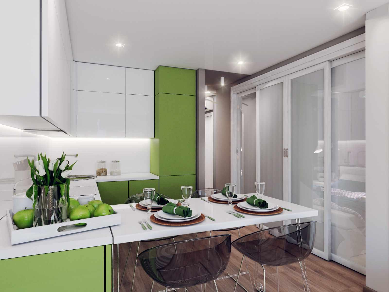 идея светлого стиля кухни гостиной 16 кв.м
