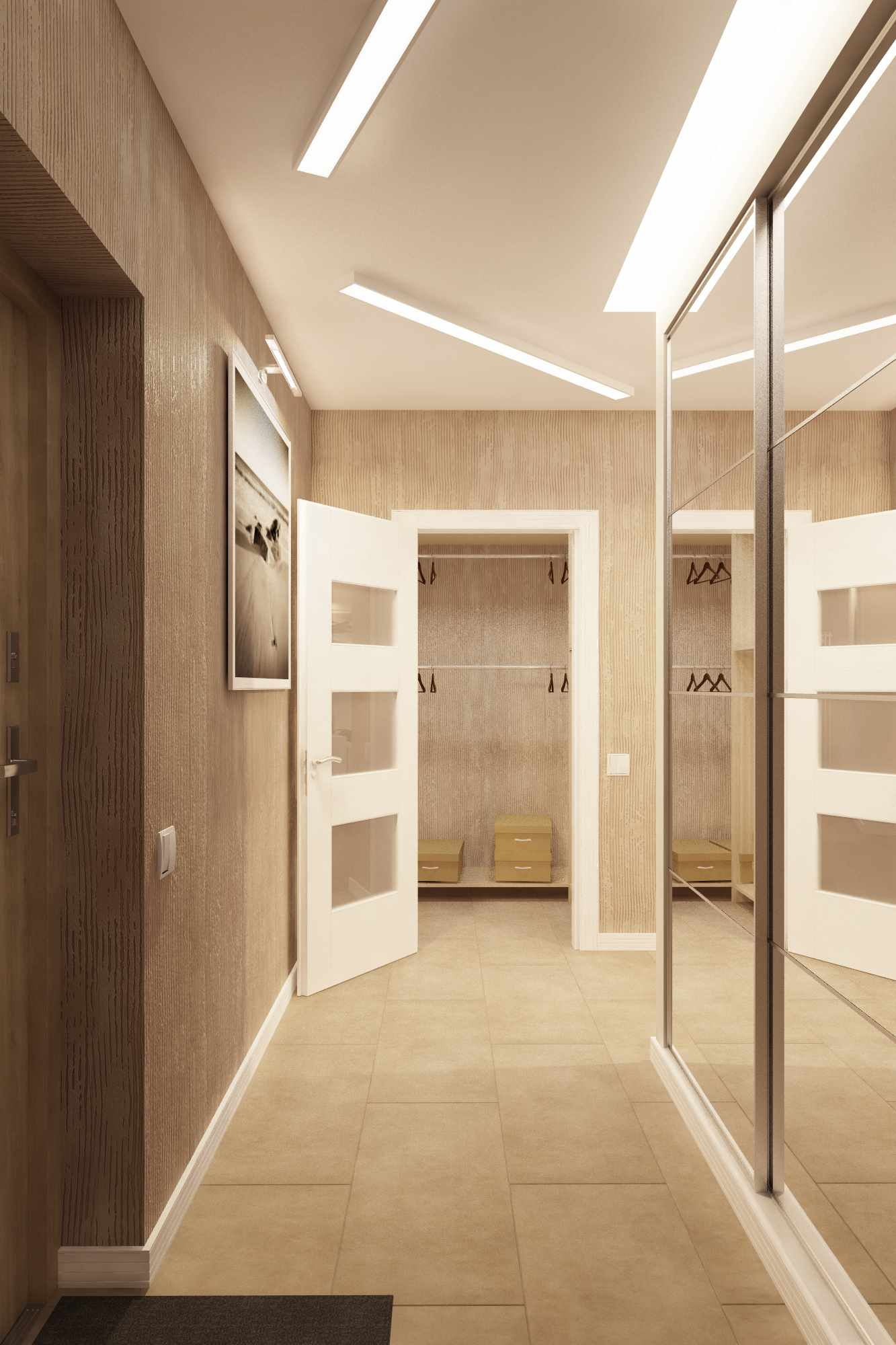 идея светлого декора коридора
