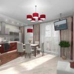 пример красивого дизайна кухни гостиной 16 кв.м картинка