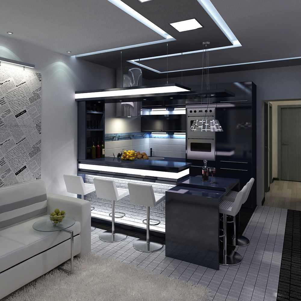 вариант светлого дизайна кухни гостиной 16 кв.м