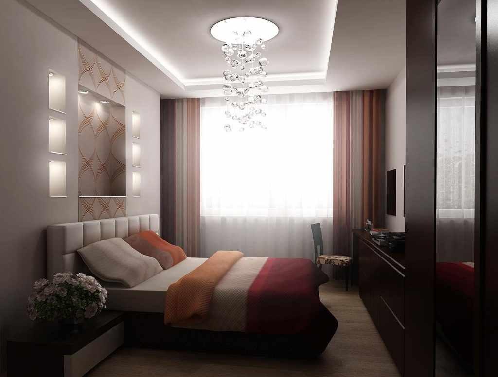 идея красивого декора спальни 15 кв.м