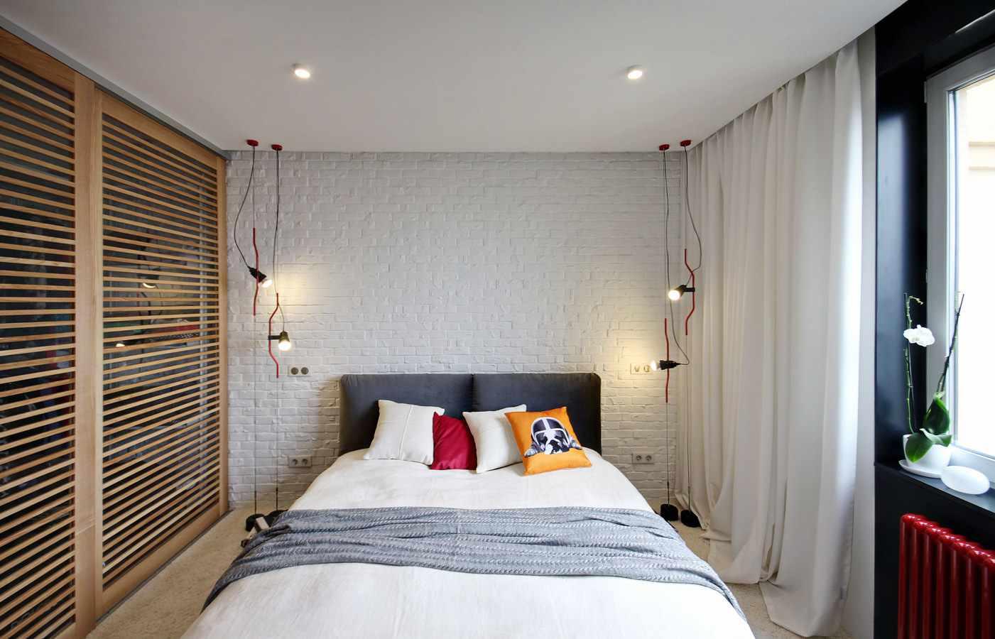 пример красивого интерьера спальни в хрущевке