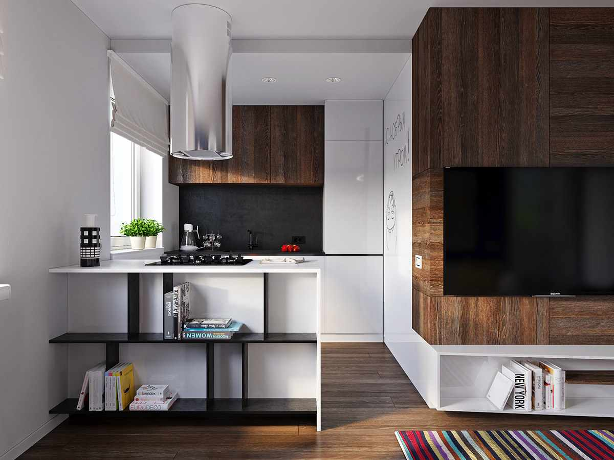 мини кухня в гостиной фото жизни