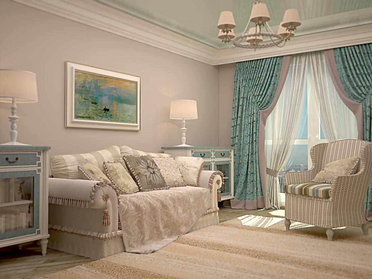 вариант необычного стиля прованс в гостиной комнате