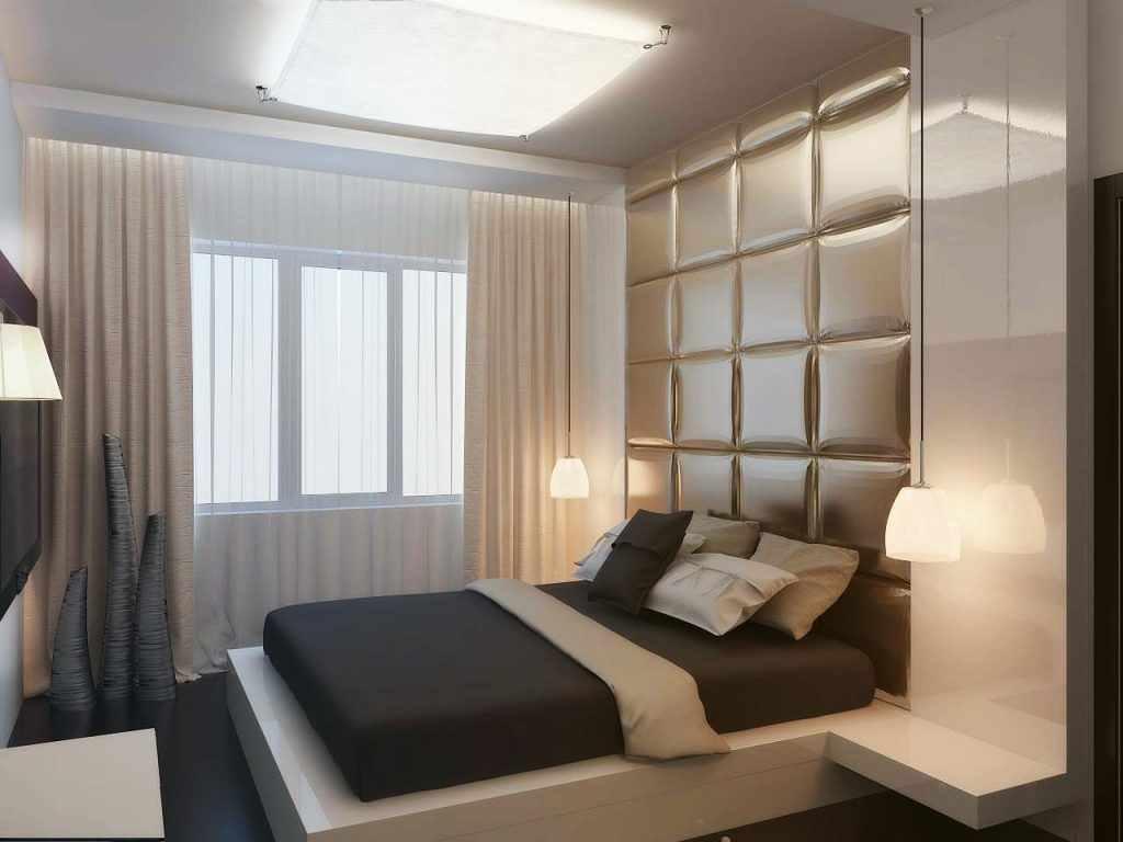 идея светлого дизайна спальни 15 кв.м
