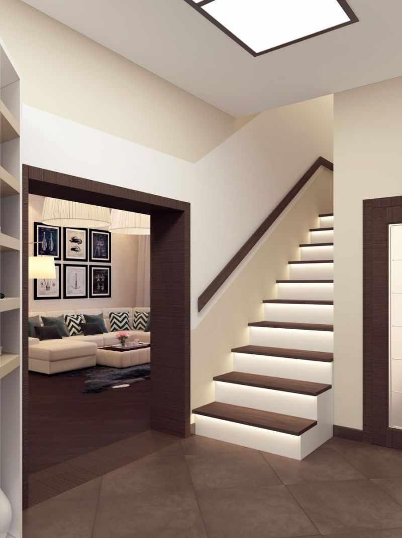 вариант яркого дизайна прихожей в частном доме