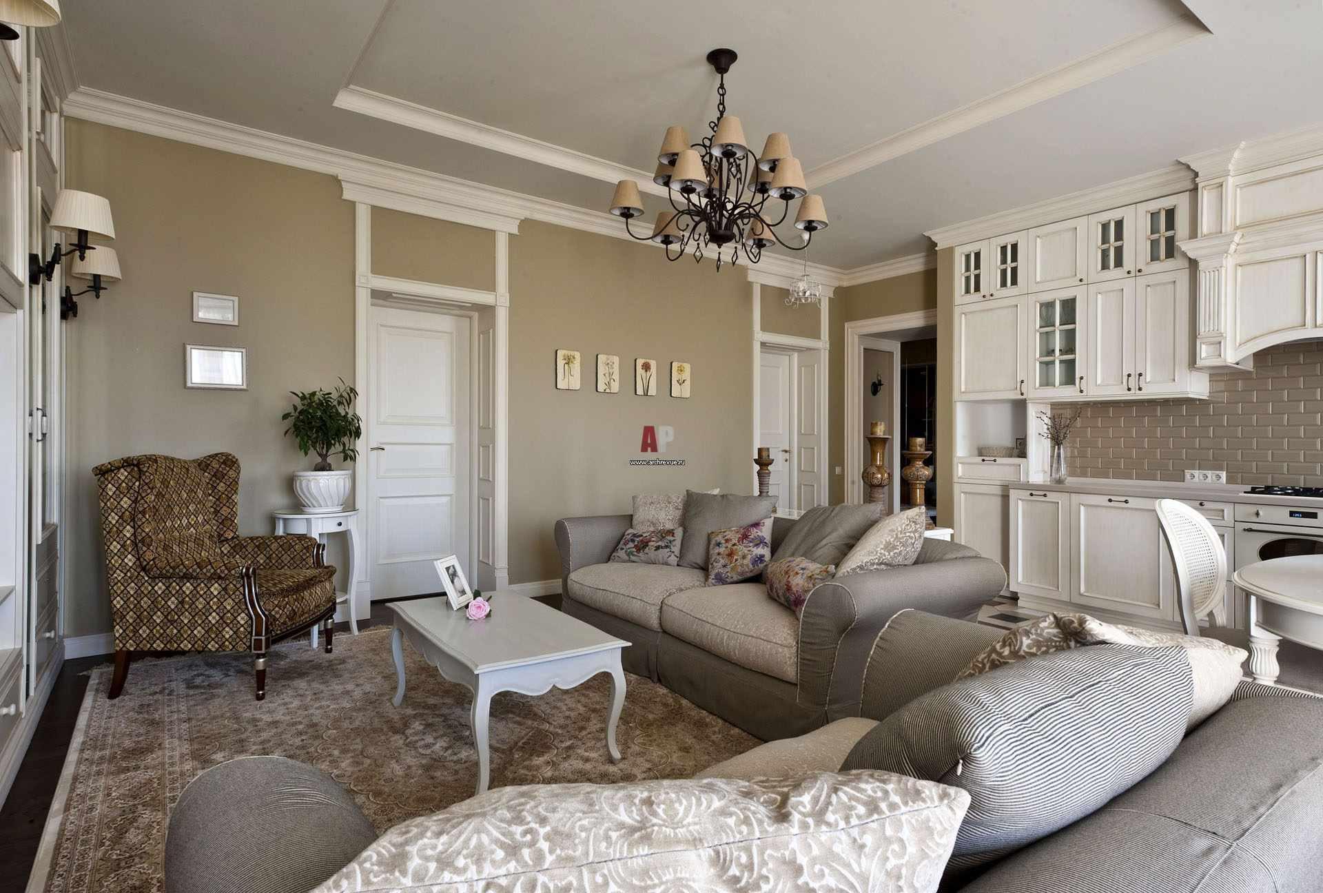 пример красивого декора прованс в гостиной