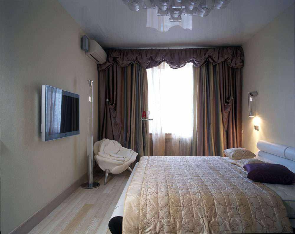 идея яркого стиля спальни в хрущевке