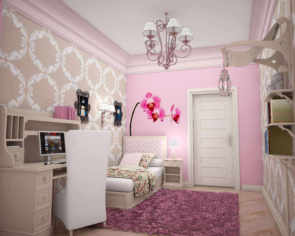 пример необычного декора спальни для девочки