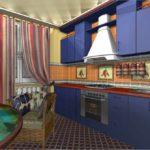 вариант яркого интерьера кухни гостиной 16 кв.м фото