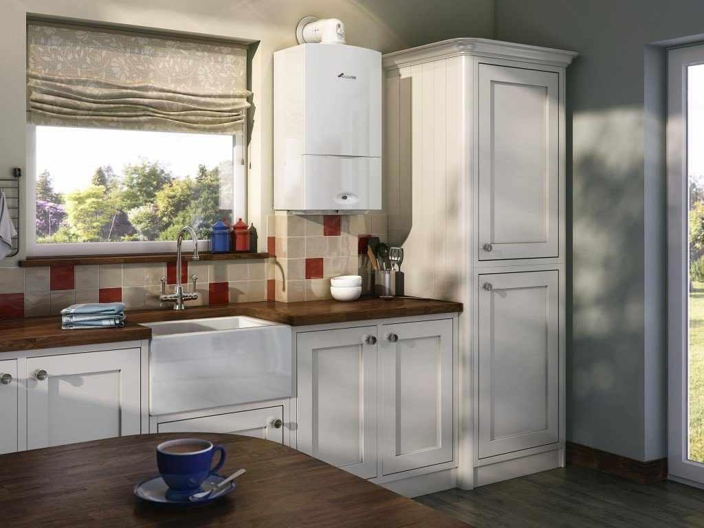 идея красивого декора кухни с газовым котлом