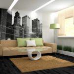 пример необычного дизайна обоев для гостиной картинка