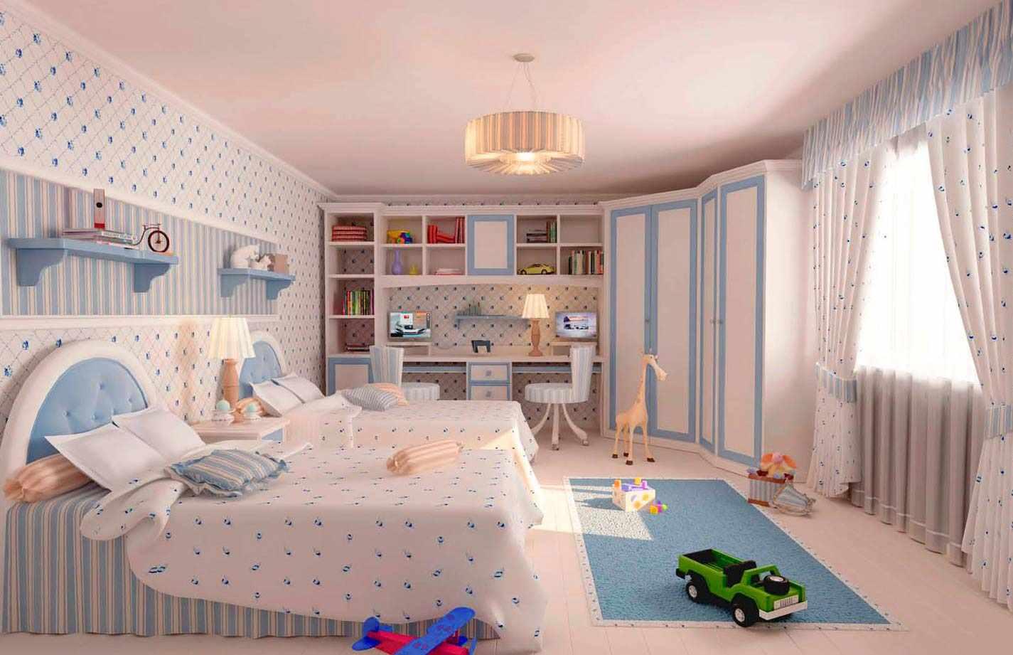 идея яркого дизайна спальной комнаты для девочки