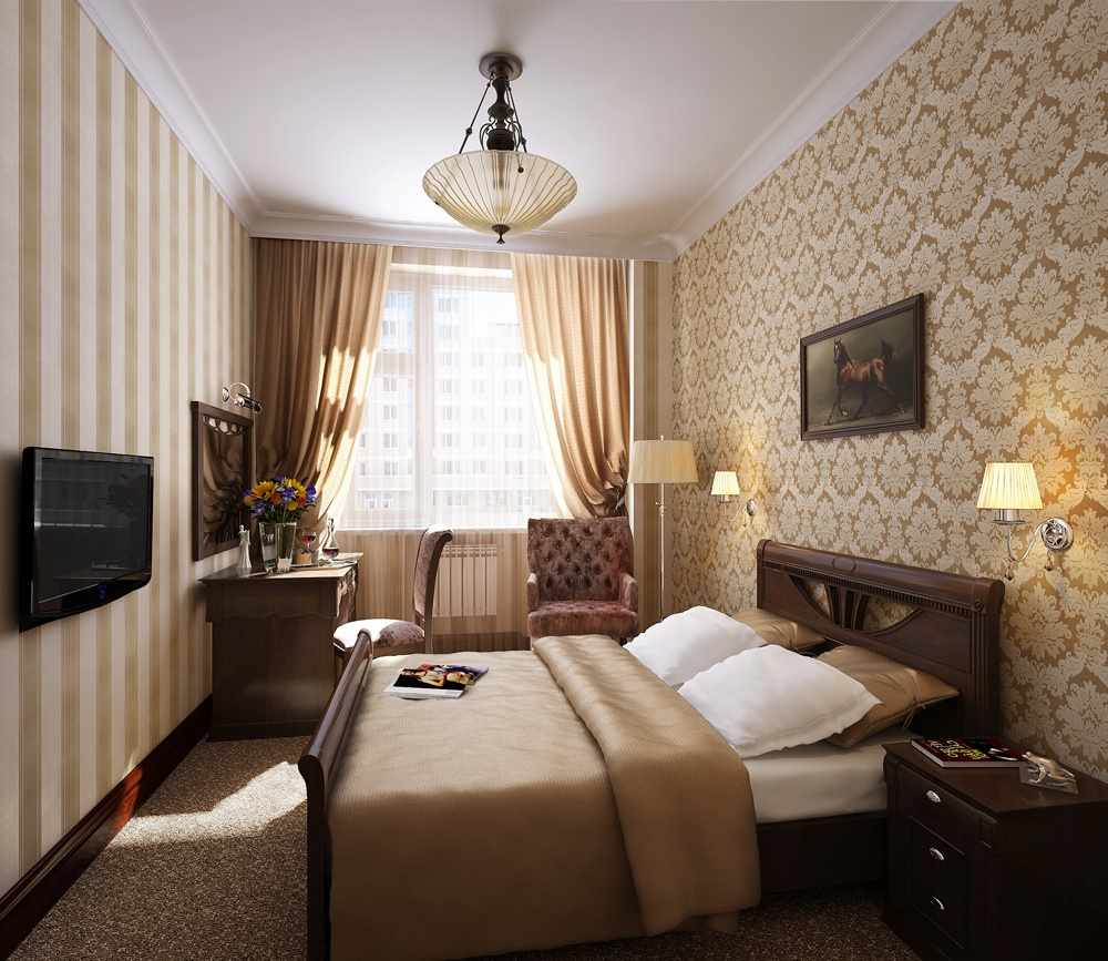 показана спальня в прямоугольной комнате дизайн фото ее, стоит