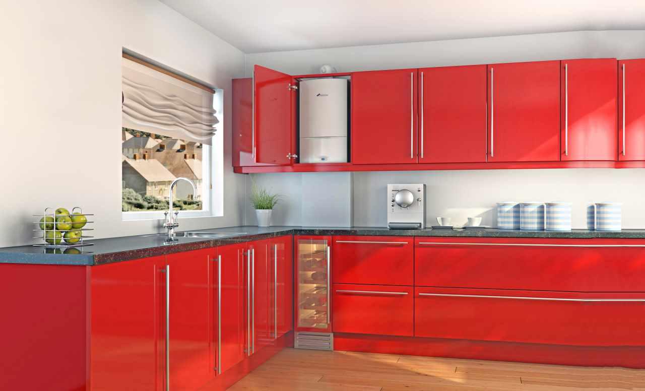 вариант необычного дизайна кухни с газовым котлом