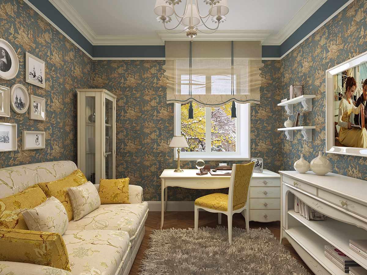 пример необычного дизайна прованс в гостиной комнате