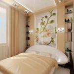 вариант яркого декора спальной комнаты в хрущевке фото