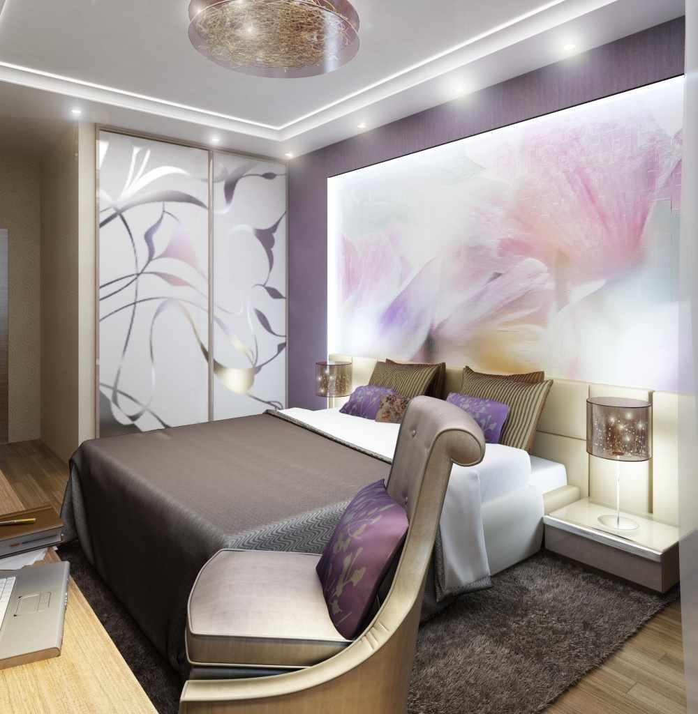вариант яркого дизайна спальни в хрущевке
