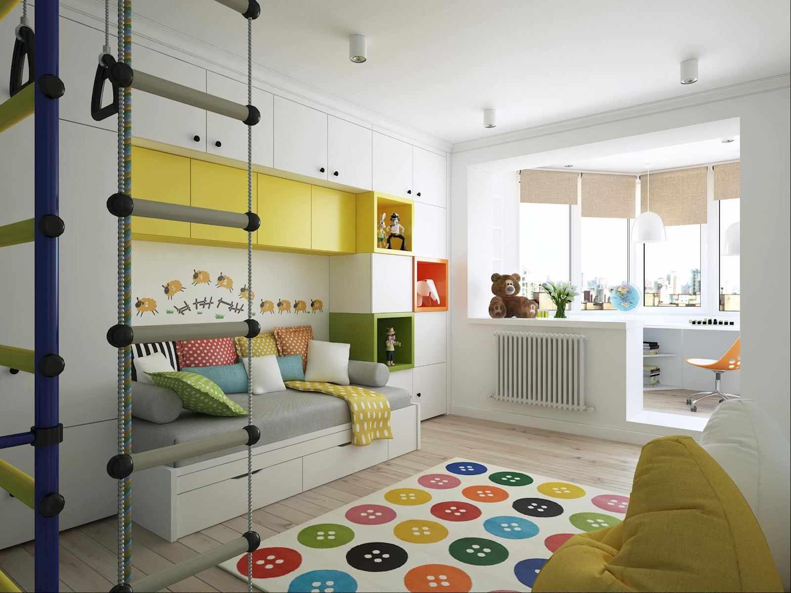 вариант необычного дизайна детской комнаты