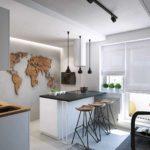 пример необычного декора кухни гостиной 16 кв.м картинка