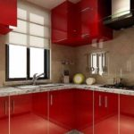 идея красивого стиля красной кухни фото