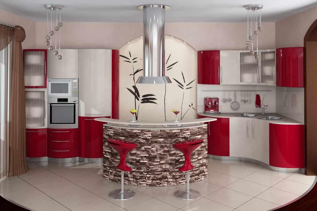 идея светлого декора красной кухни