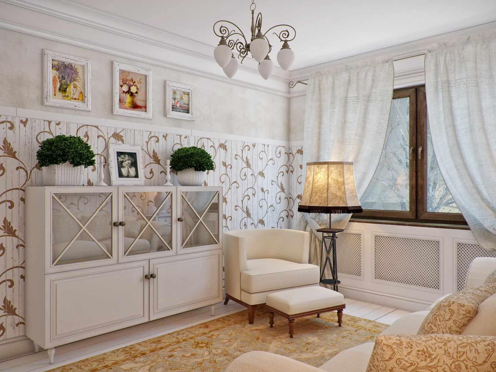идея светлого интерьера прованс в гостиной