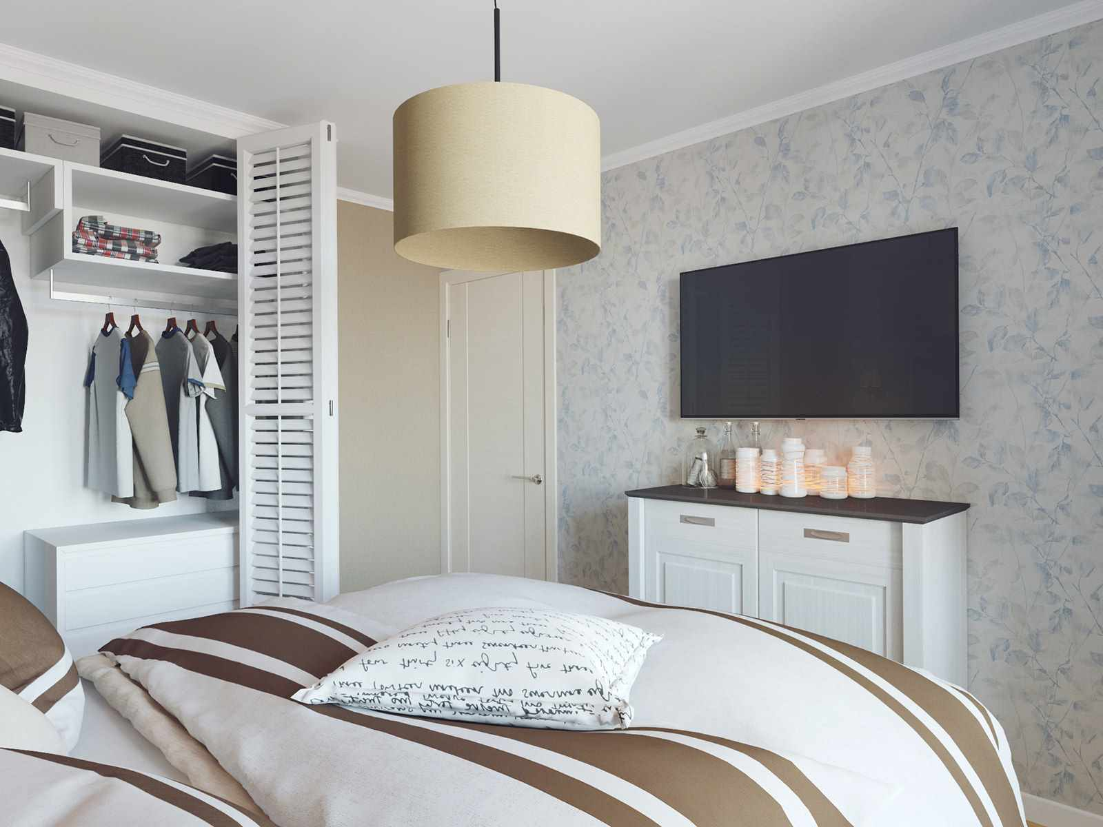 вариант красивого декора спальни 15 кв.м