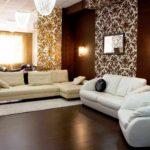 пример необычного дизайна обоев для гостиной фото