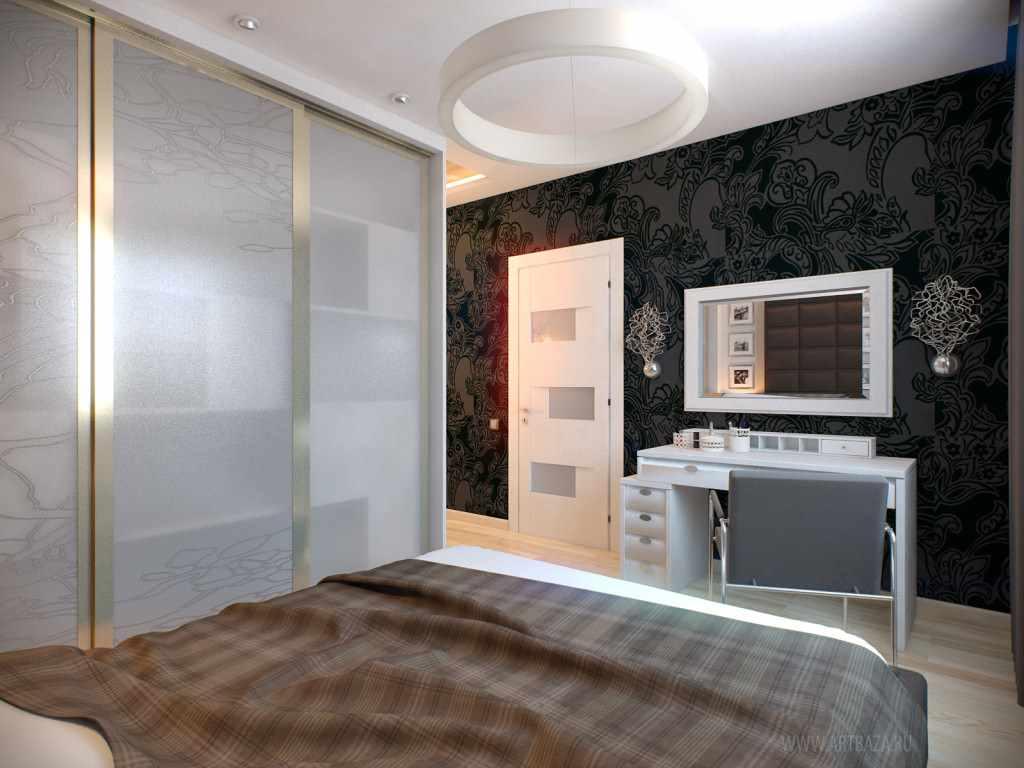 идея яркого интерьера спальной комнаты