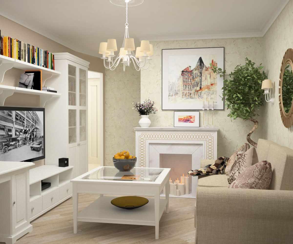 вариант красивого декора прованс в гостиной комнате