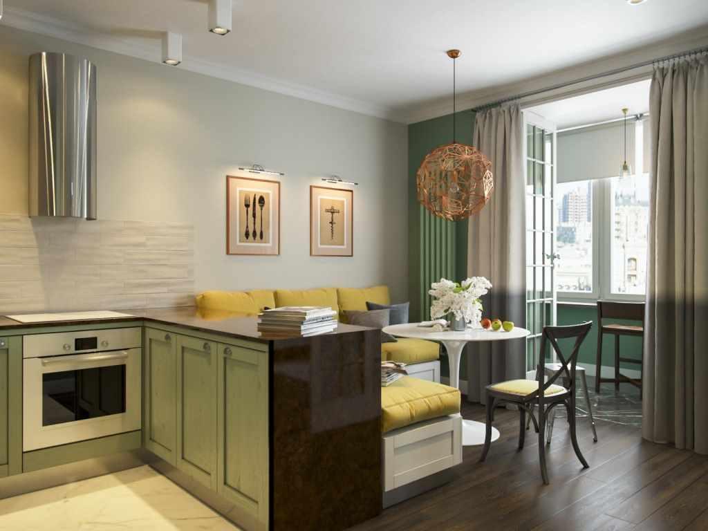 вариант красивого дизайна кухни гостиной 16 кв.м