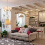 идея необычного интерьера прованс в гостиной комнате картинка
