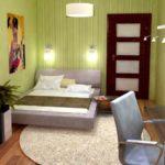вариант яркого стиля спальной комнаты в хрущевке картинка