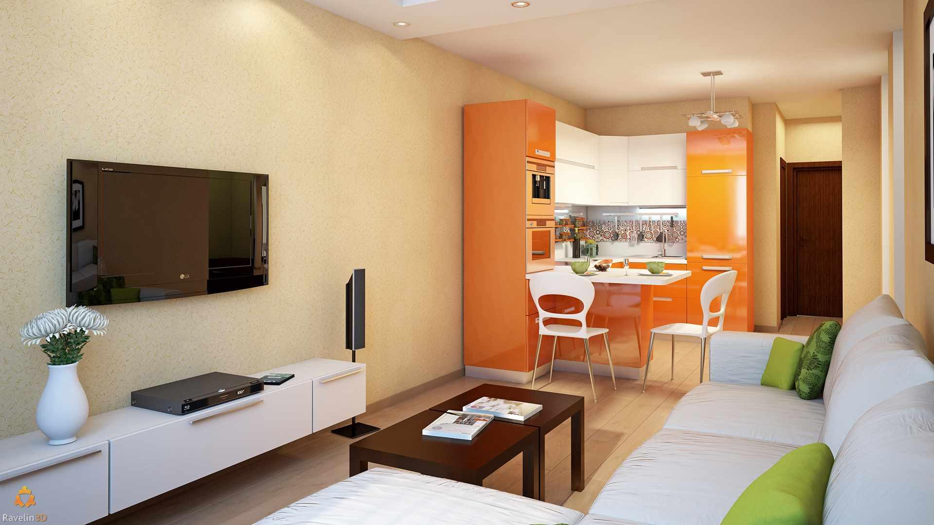 идея необычного интерьера кухни гостиной 16 кв.м