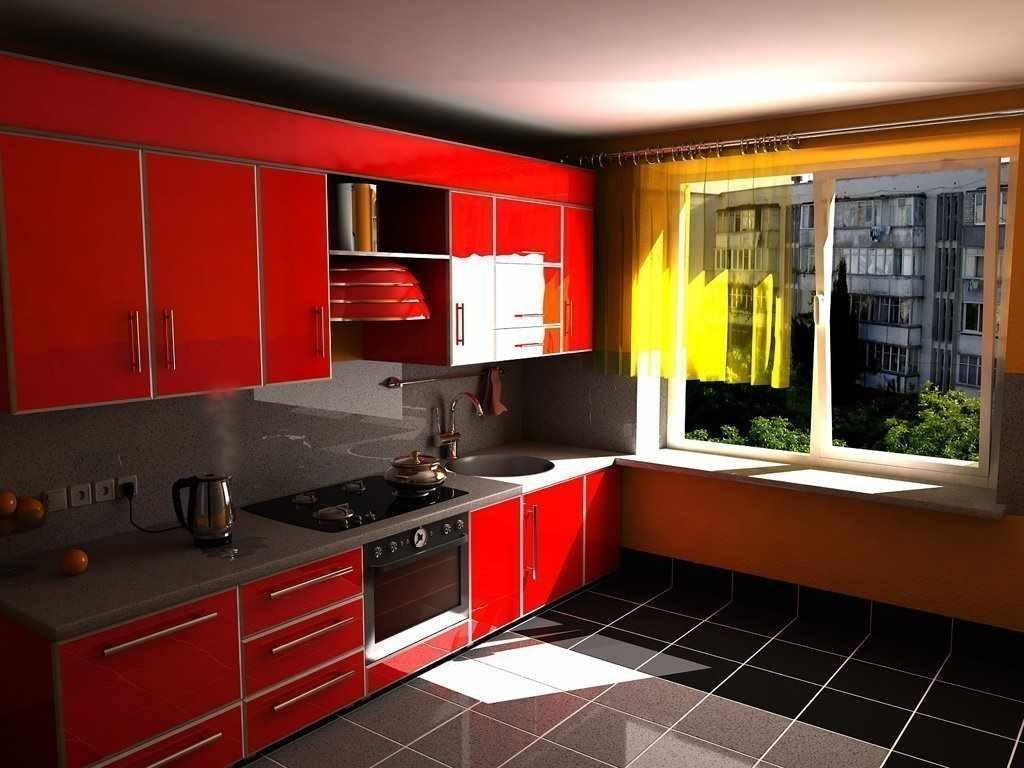 пример необычного интерьера красной кухни