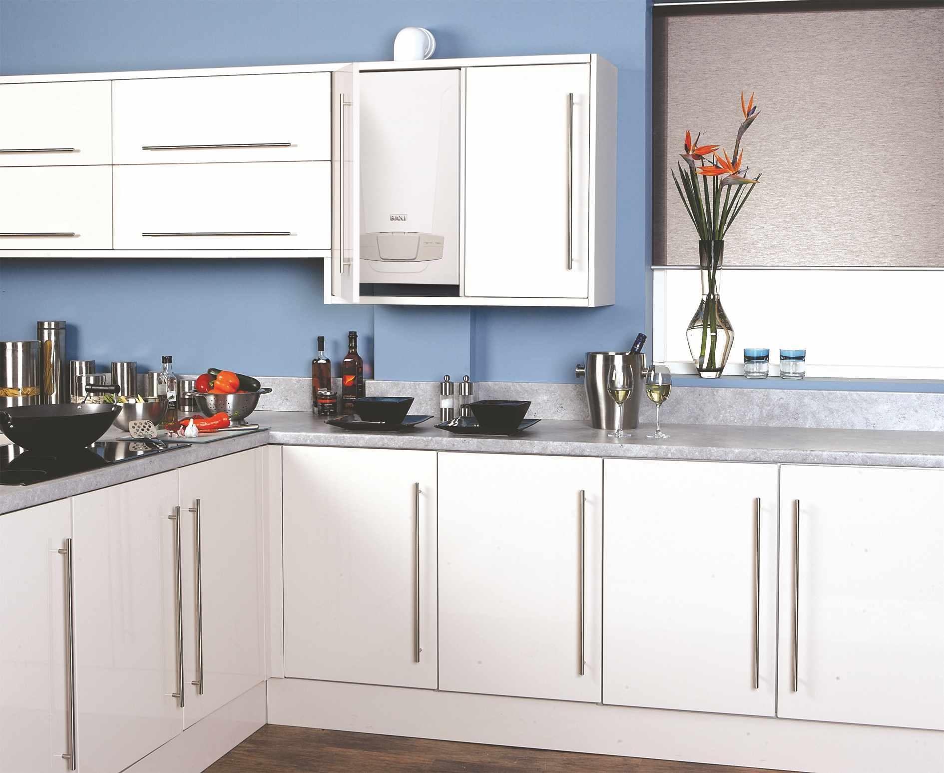 вариант красивого дизайна кухни с газовым котлом