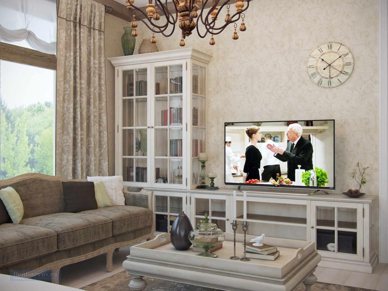 идея красивого декора прованс в гостиной комнате
