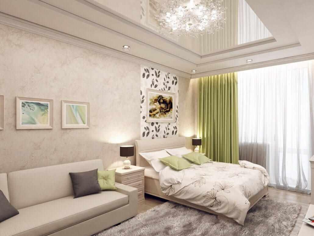 идея светлого интерьера спальной комнаты 15 кв.м
