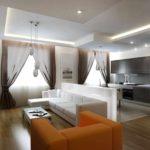 пример светлого стиля кухни гостиной 16 кв.м фото