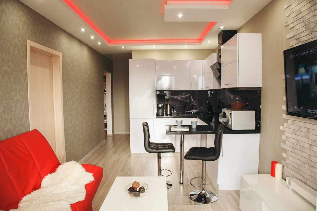вариант яркого дизайна кухни гостиной 16 кв.м
