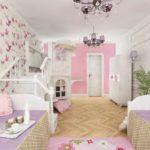 идея светлого стиля спальной комнаты для девочки фото