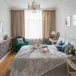 идея красивого дизайна спальной комнаты в хрущевке картинка