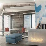 пример использования яркого интерьера гостиной комнаты в стиле минимализм картинка