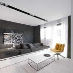 пример использования красивого декора гостиной комнаты в стиле минимализм картинка