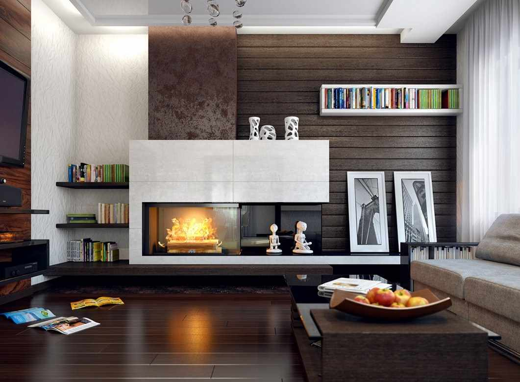 фото гостиной с камином в современном стиле его