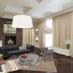 идея использования яркого дизайна гостиной комнаты с камином картинка