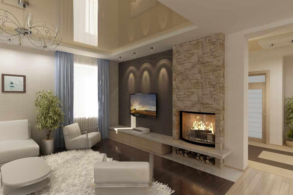 идея использования светлого декора гостиной комнаты с камином